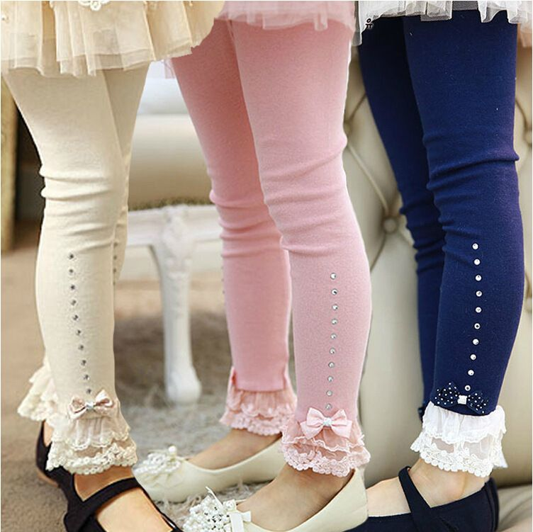 In Stock Hello Kitty Girls Lace Bow Leggings Princess