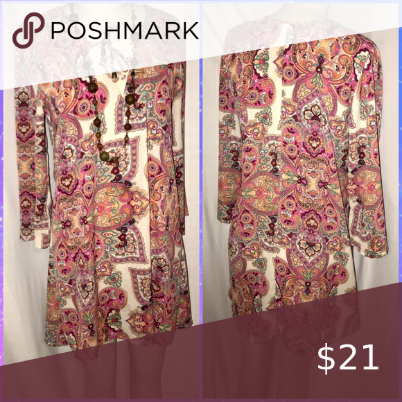 Boho paisley dress with 3/4 length sleeves