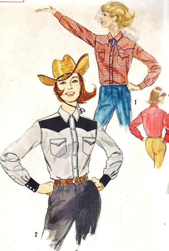 1960\'s Misses Western Shirt Cowgirl Shirt   Like   Pinterest