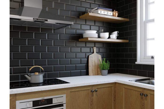 Metro Black Matte Wall Tiles 10x20cm