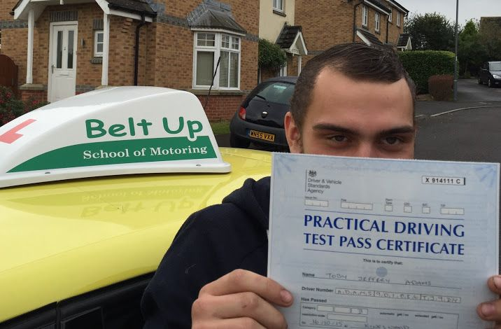 Toby Adams passed first time with us in Daren's yellow banana car! Only 4 driver faults and a test pass later, we convinced Toby to have his photo taken. He wasn't too sure so hid a little!! Well done though Toby.. Well deserved!
