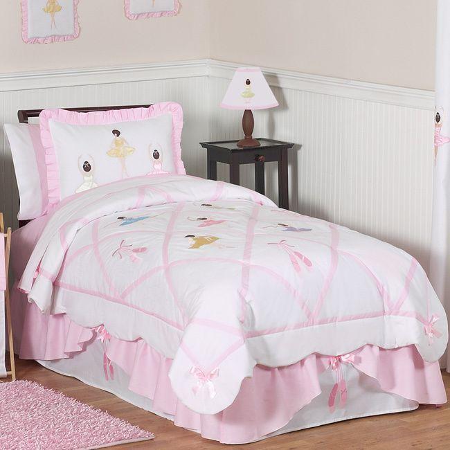This Pretty Pink Ballet Bedding Set Has Detailed Satin