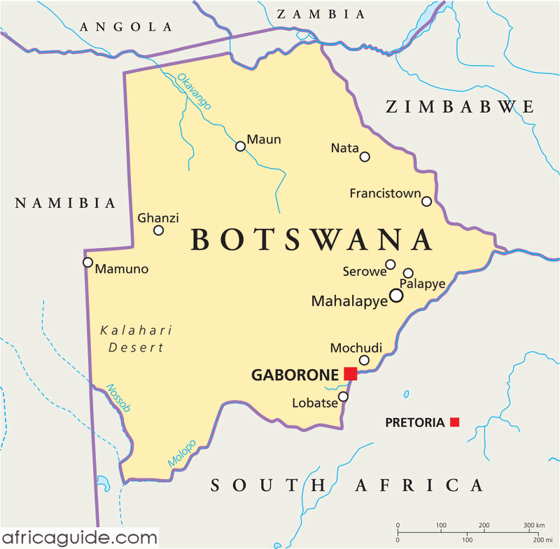 Botswana map with capital Gaborone Bechuanaland now Botswana