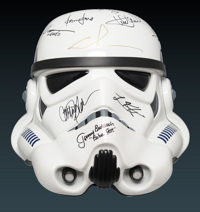 On the fourth day of collecting, our historians found for you…an Episode IV Star Wars stormtrooper helmet!    This legendary stormtrooper helmet from Star Wars: Episode IV: A New Hope features over a dozen autographs from George Lucas, Harrison Ford, James Earl Jones, Carrie Fisher, and more of the movie's famous cast and crew. The helmet was auctioned off in 2010 to support the Make-A-Wish Foundation.