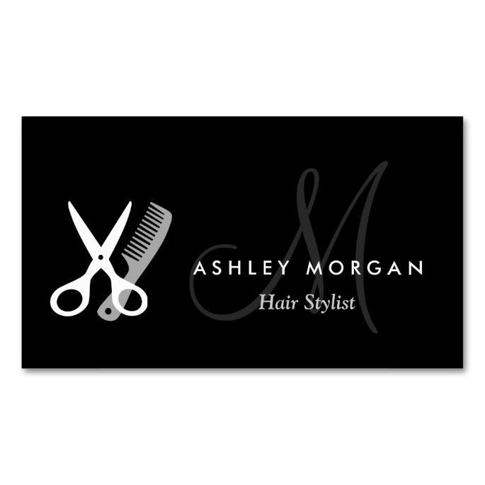 Black white monogram hair hairstylist appointment double sided black white monogram hair hairstylist appointment double sided standard business cards pack of 100 reheart Image collections