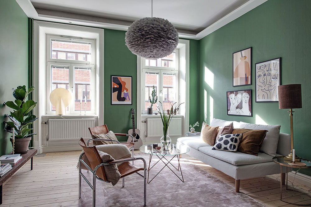 Scandinavian apartment with green living room 〛 Фото Идеи