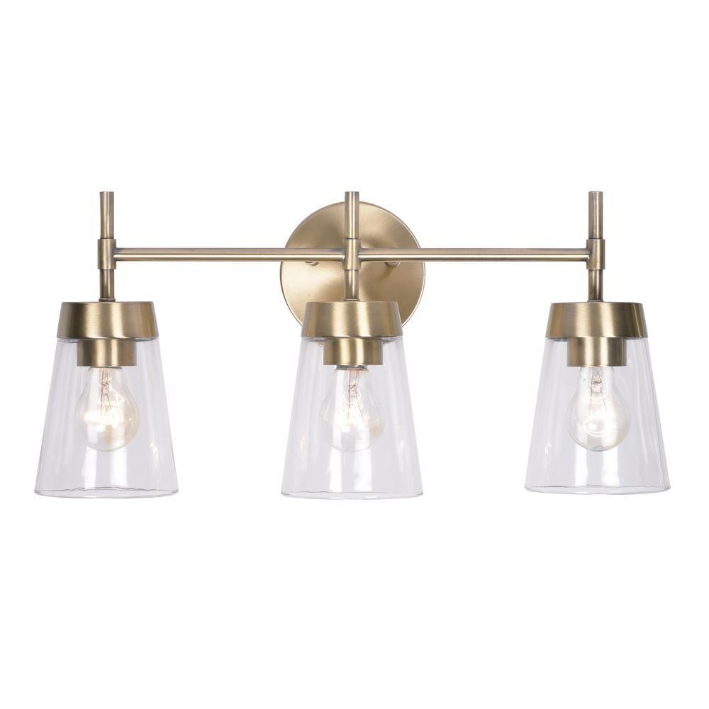 Kenroy Home Delgado 3 Light Antique Brass Bathroom Vanity Light