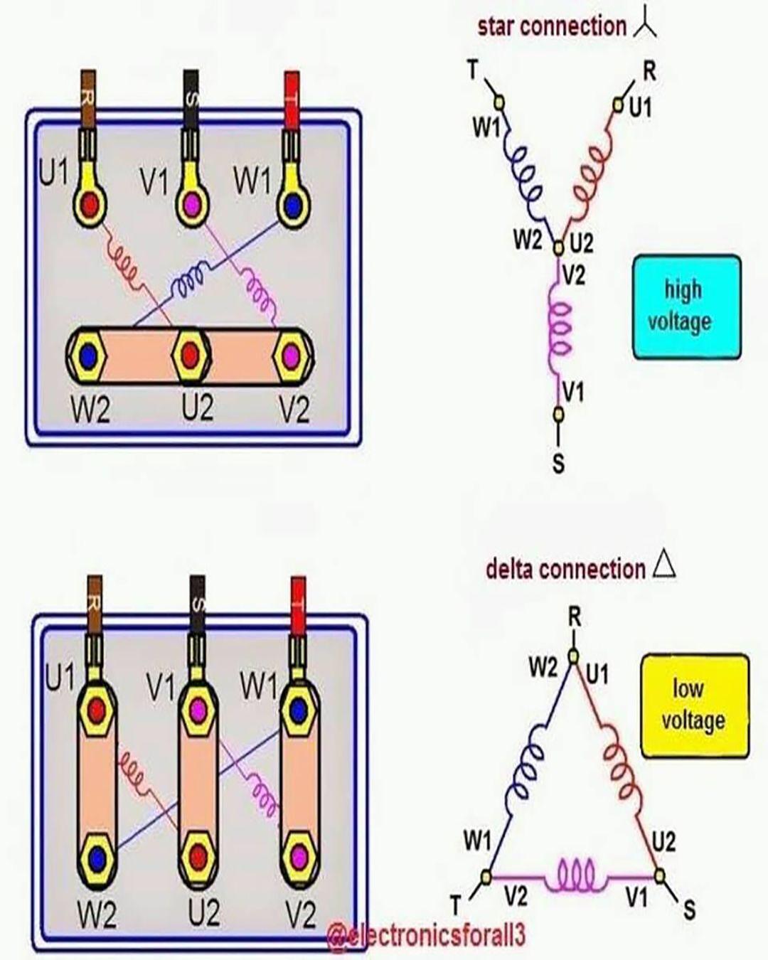 Diagram Of Star Delta Motor Connection Electrical Circuit Diagram Electricity Electrical Projects