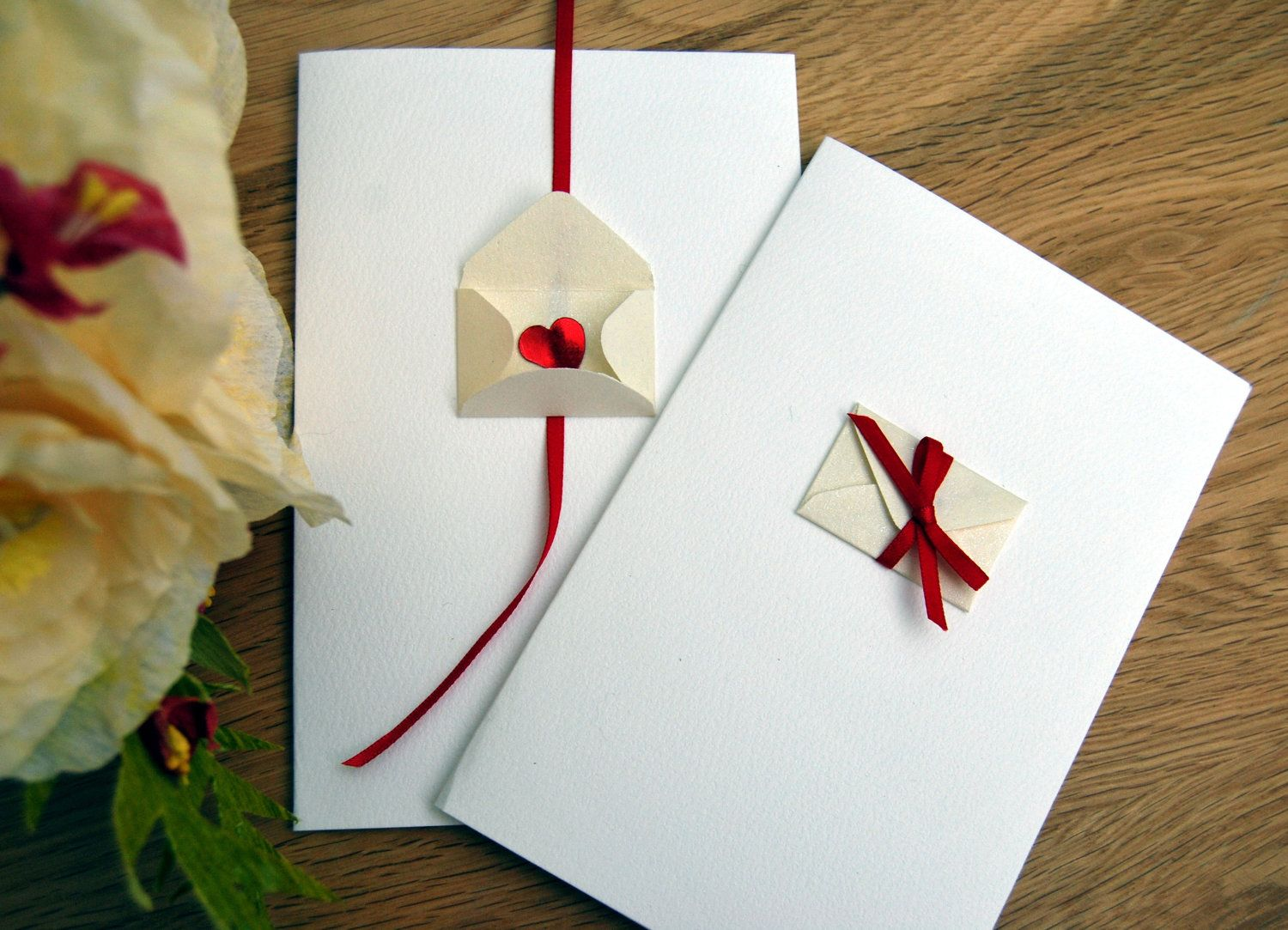 This card has a small pearlised ivory envelope that can be opened to reveal a sequin heart. This is the perfect card to use as a valentines card.