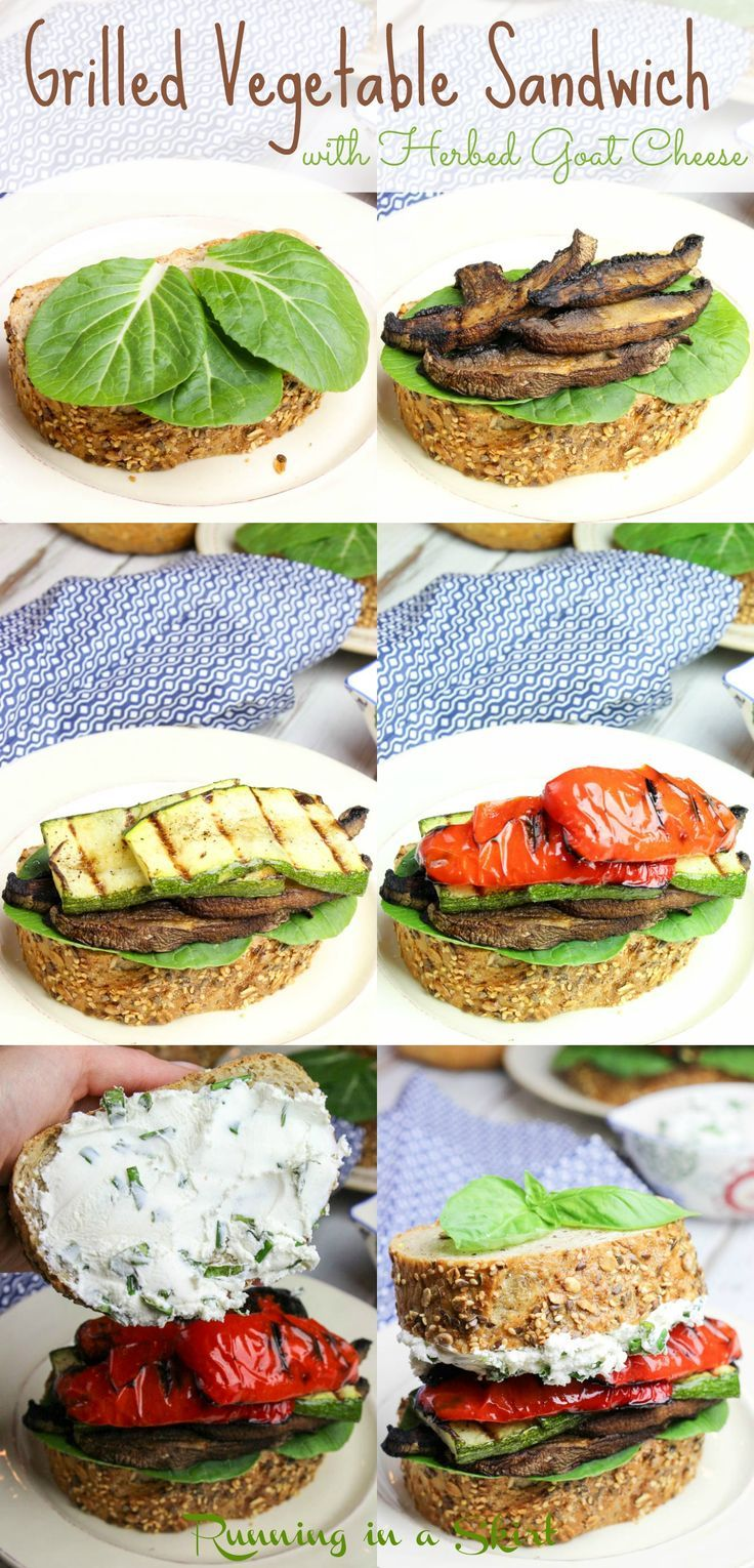 Grilled Vegetable Sandwich with Homemade Herbed Goat Cheese