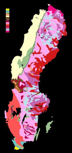 Karta Over Varldens Bergskedjor.Forenklad Karta Over Sveriges Bergarter Baserad Pa Data Fran Sgu
