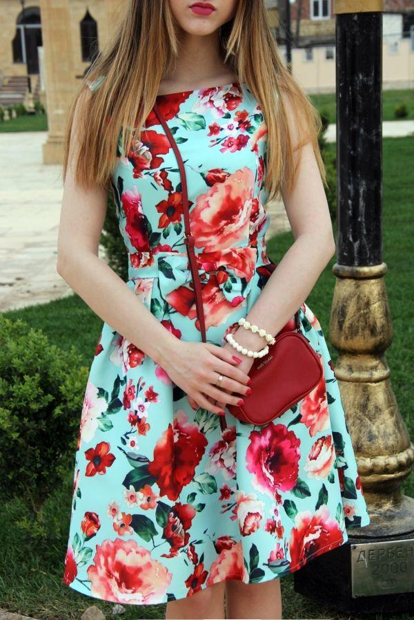 Beauteous Red Rose Print Swing Dress - OASAP.com