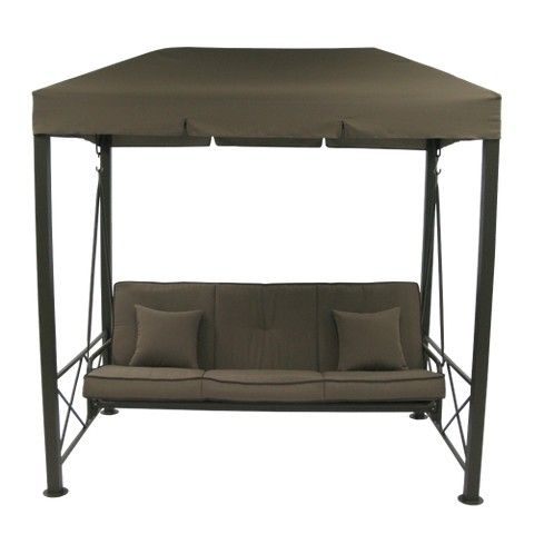 3 Person Patio Swing With Gazebo Top Cover Brown Patio Swing