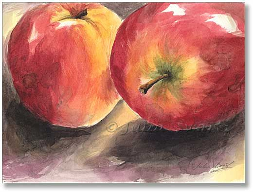 Two Apples Watercolor Painting Watercolor Paintings For