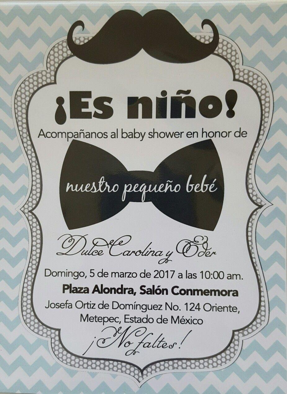 Invitación De Moño Y Mostacho Para Baby Shower