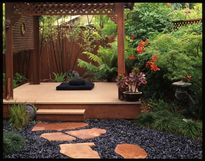Japanese Meditation Garden To Enlarge The Feel Of The Garden And