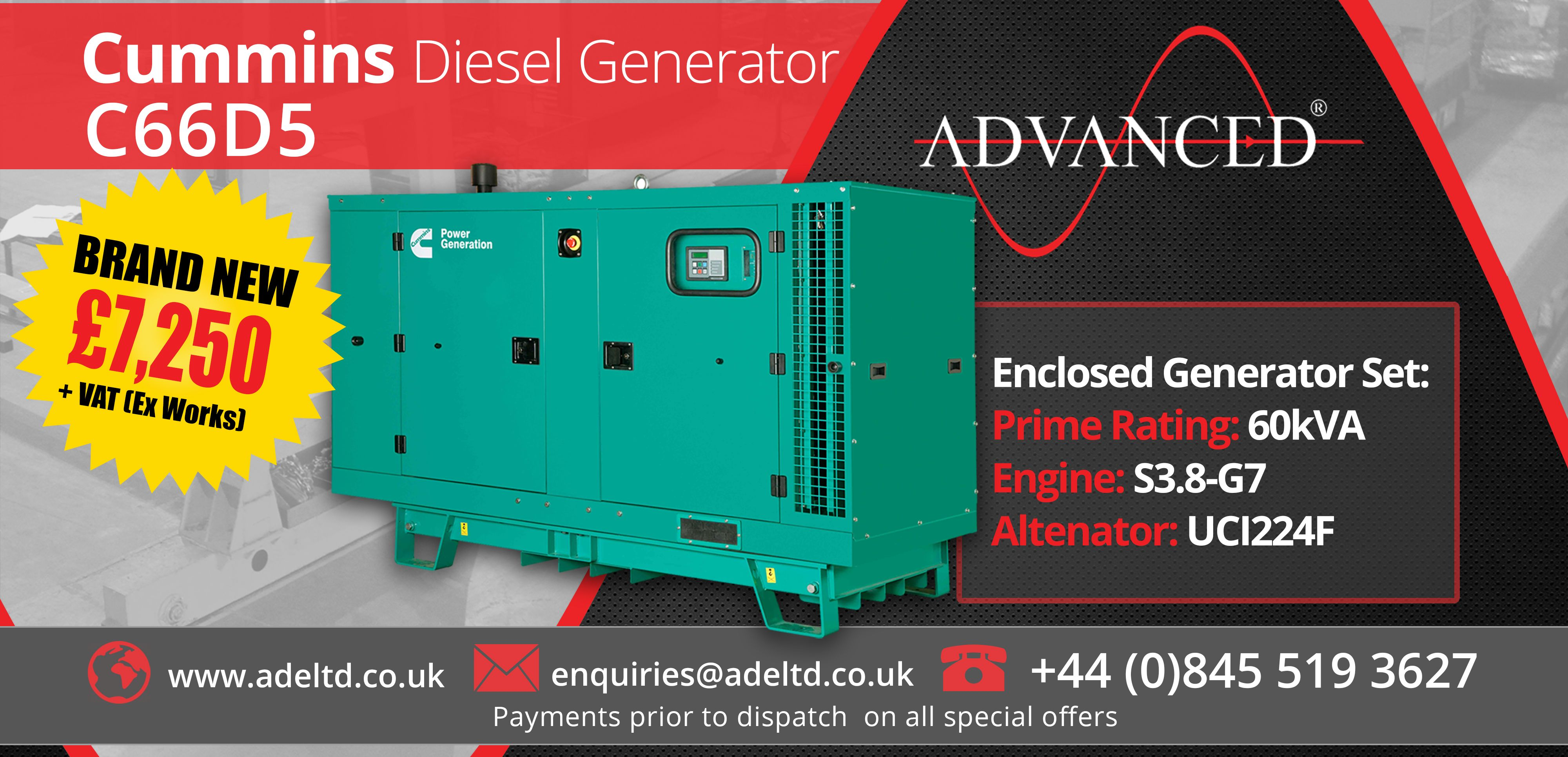 Diesel Generators Latest Offers Pinterest Water Heater Circuit Cummins C66d5 66kva Stand By 60kva Prime Enclosed Set With Battery Charger Breaker And Base Fuel Tank Only 7250 Visit For More