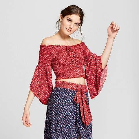 d85b989d74436 Xhilaration Women s Long Sleeve Lace Up Crop Top - Xhilaration Red Ditsy