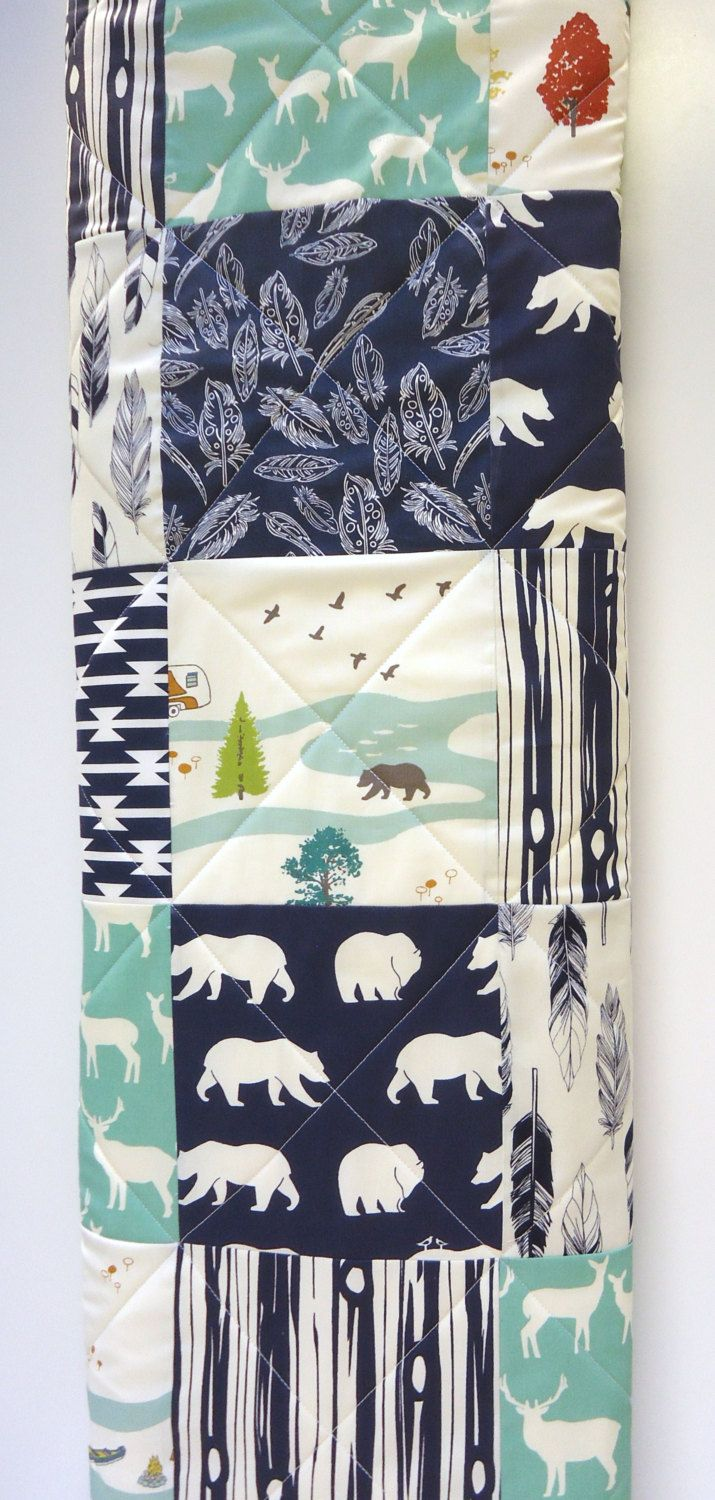 Mint And Navy Blue Baby Quilt Modern Rustic Woodland Patchwork Boy Gray Grey Buck Elk Deer Bear Hike Antler Feathers Blanket
