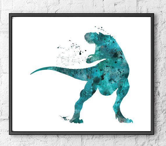 T-Rex Watercolor Print, Dinosaur Art, Dinosaur Poster, Wall Art, Home Decor, Kids Wall Decor, Room Decor, Fine Art, Home & Living - 80 #dinosaurart