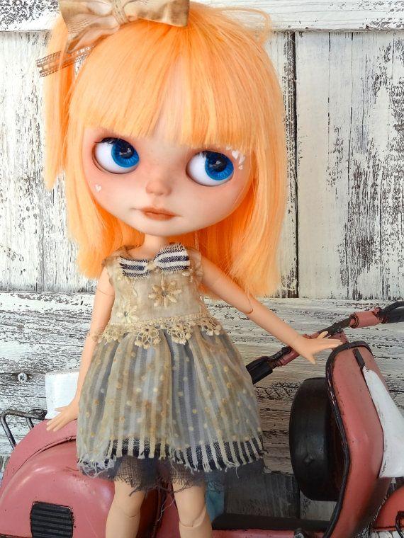 Blythe doll dress OOAK Boho outfit jeans/denim by Marinart