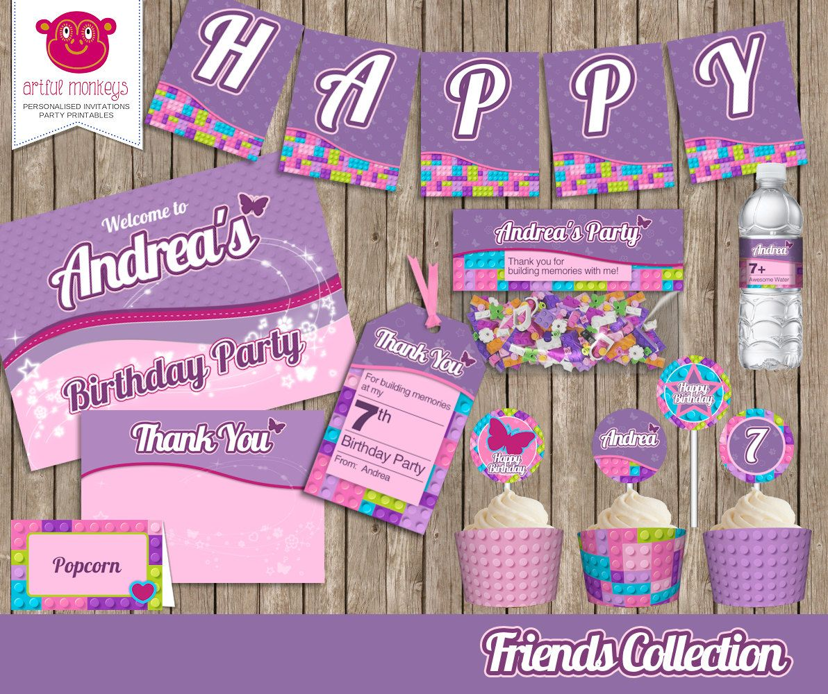 Lego Friends Inspired Party Printables