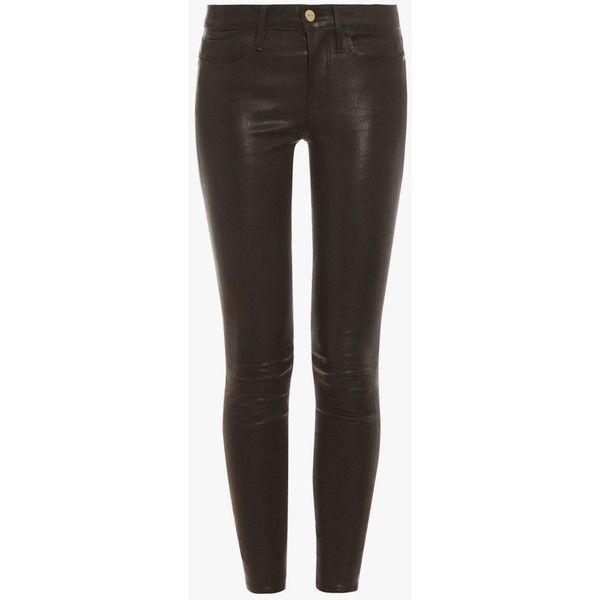 Frame Denim Le Skinny Leather Pant ($1,250) ❤ liked on Polyvore featuring pants, capris, stretch leather pants, white trousers, stretch pants, skinny crop pants and white skinny pants