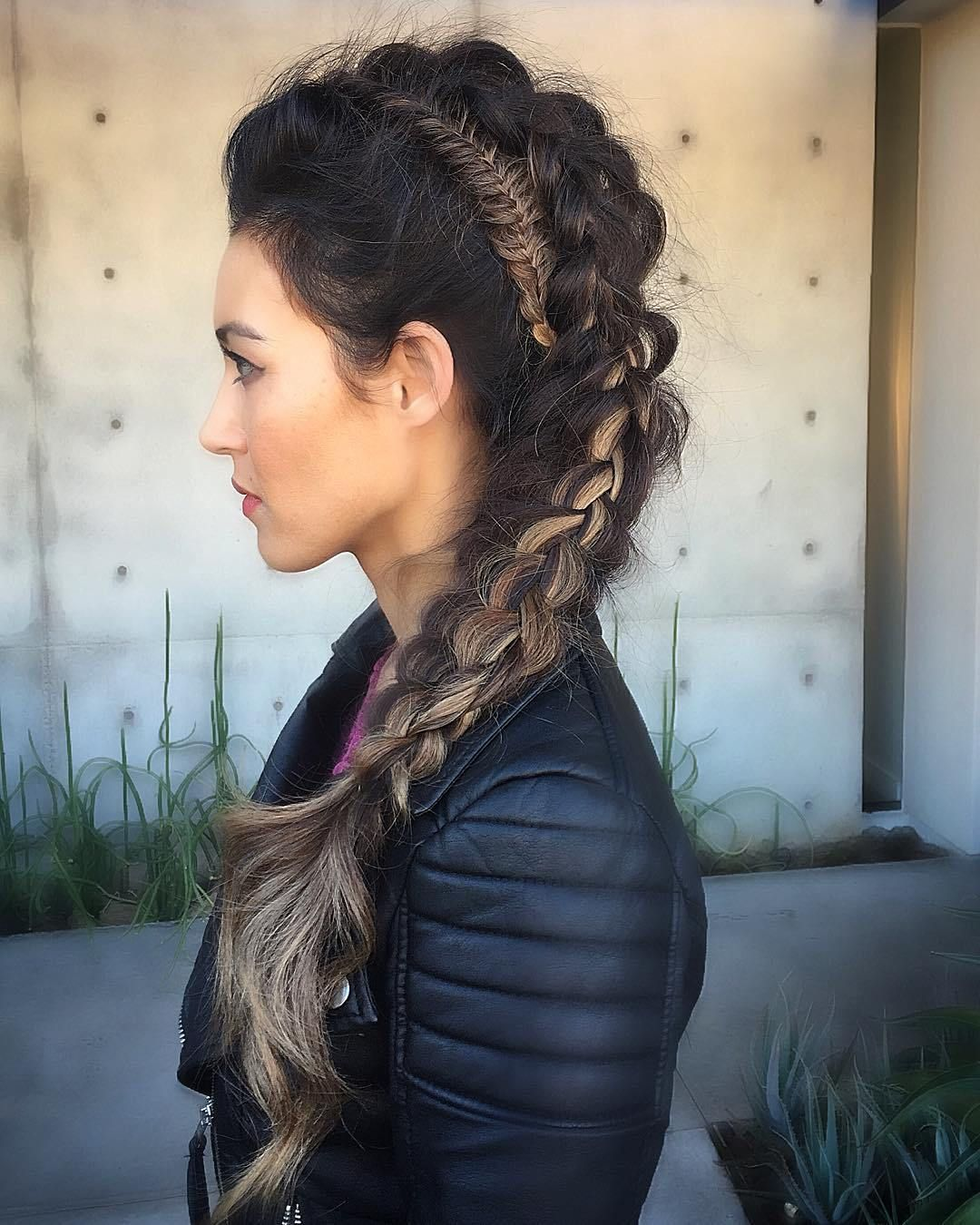 Double mohawk braid for long hair style pinterest messy