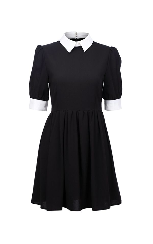 Andrastea Black Dress with White Collar - THE CULTLABEL #goth #black #dress