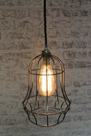 Vintage industrial style lighting. Bell cage light with 3 metres braided cord - Fat Shack & Vintage industrial style lighting. Bell cage light with 3 metres ... azcodes.com