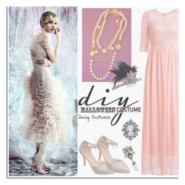 """DIY Halloween Costume - DressLily"" by dora04 ❤ liked on Polyvore featuring vintage, TheGreatGatsby, daisybuchanan, halloweencostume and DIYHalloween"
