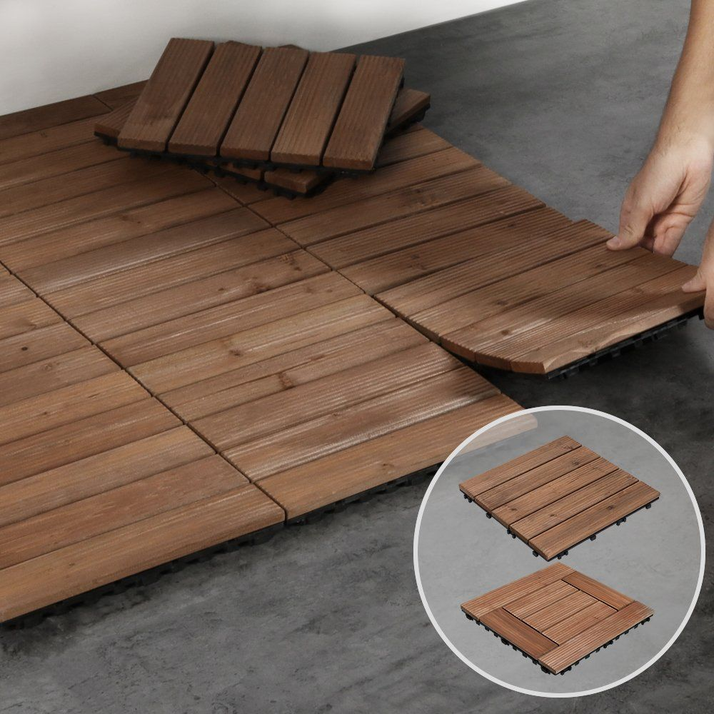 Easyfashion 12x12 Deck Tiles Patio Pavers Wood Flooring Tiles Indoor Outdoor 27pcs Walmart Com In 2020 Patio Tiles Deck Tiles Patio Outdoor Deck Tiles