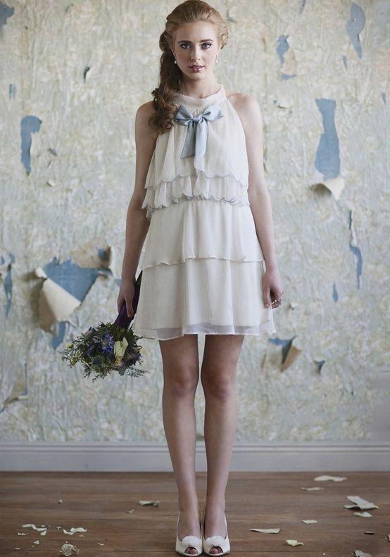 Gemma Lynn Chiffon Bridesmaids Dress with Dusk Blue Bow from Ruche