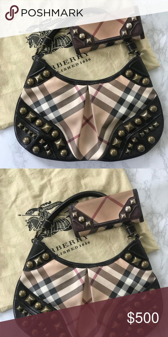 dc2816c7268b Burberry Nikki Studded Bag and Wallet Beautiful hobo Burberry bag with  wallet. Has antique brass studs on both pieces to give a classic look a  little bit of ...