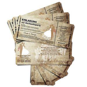 Details Zu Einladungskarte N Hochzeit   Ticket Mit Abriss Coupon