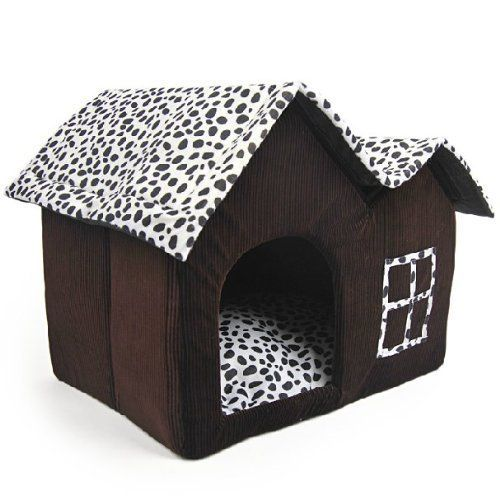New Luxury High End Doublsingle Roof Pet House Brown Dog Cat