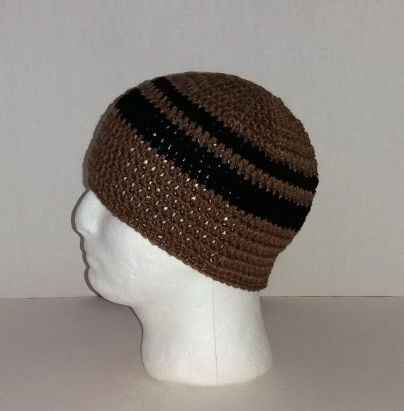 Mens Crochet Beanie, Men's Crochet Hat Two-Toned Camel Brown and Black, Mens Crochet Winter Hat, Men #menscrochetedhats
