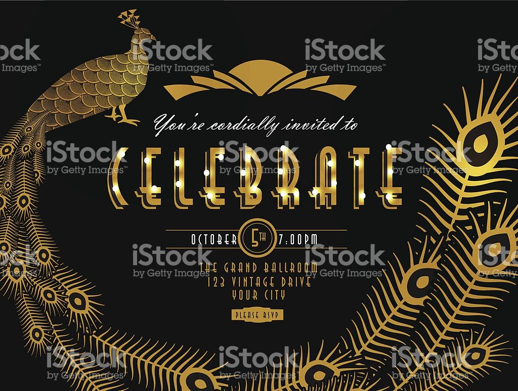 Art deco style vintage invitation design template gatsby art deco peacock style vintage horizontal invitation design template royalty free stock vector art stopboris