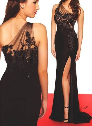 New Sexy One shoulder Long Prom Dresses Beading Formal Party Gown ...