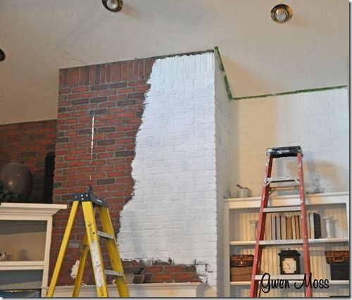 Before And After My White Chalk Painted Fireplace Painted Brick Walls Painted Brick Painted Brick Fireplaces