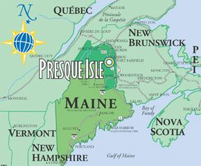 Map Of Maine Presque Isle Local Attractions Maine Local