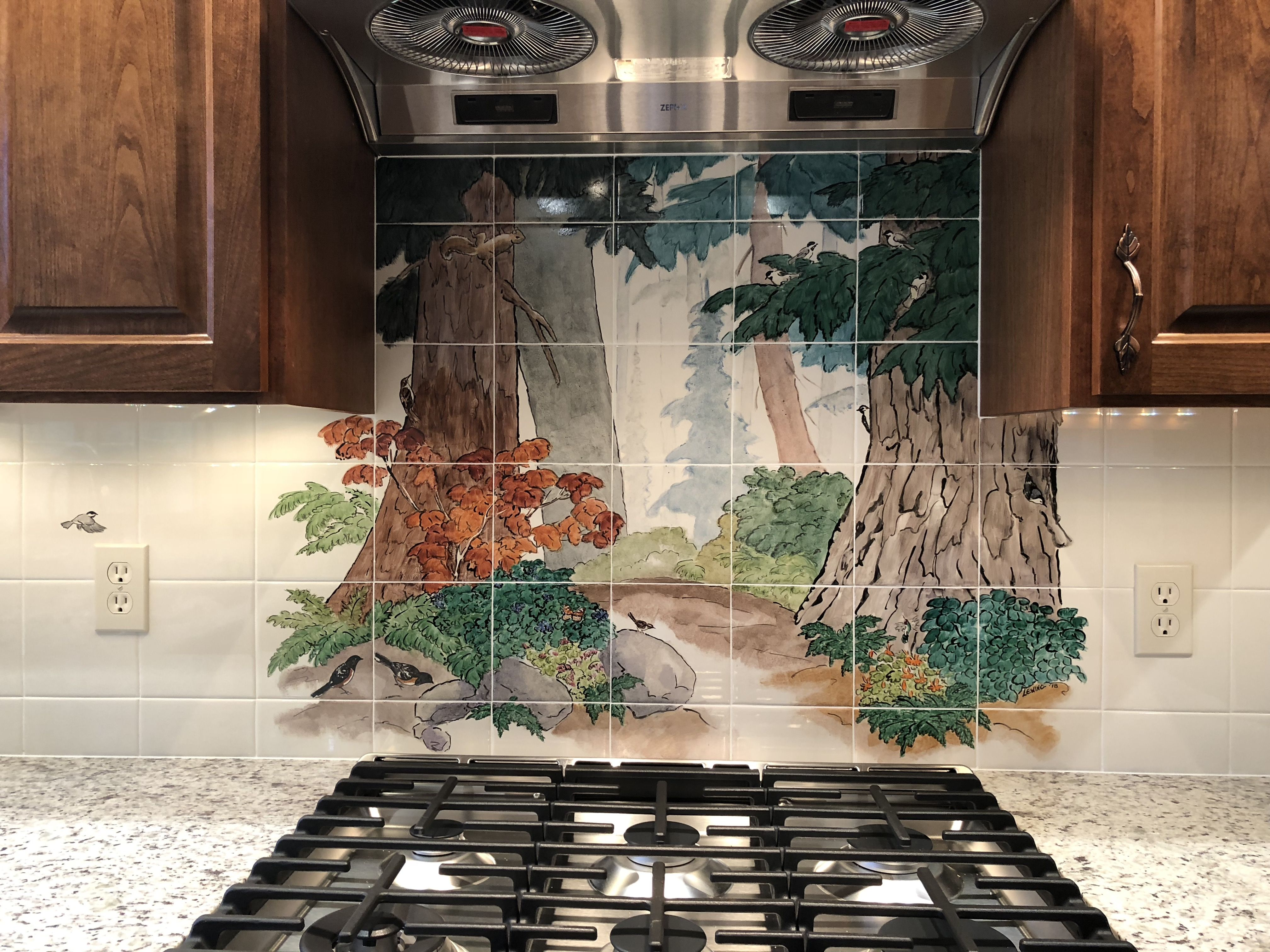 A Path Into A Forest In This Custom Tile Mural Makes The Kitchen