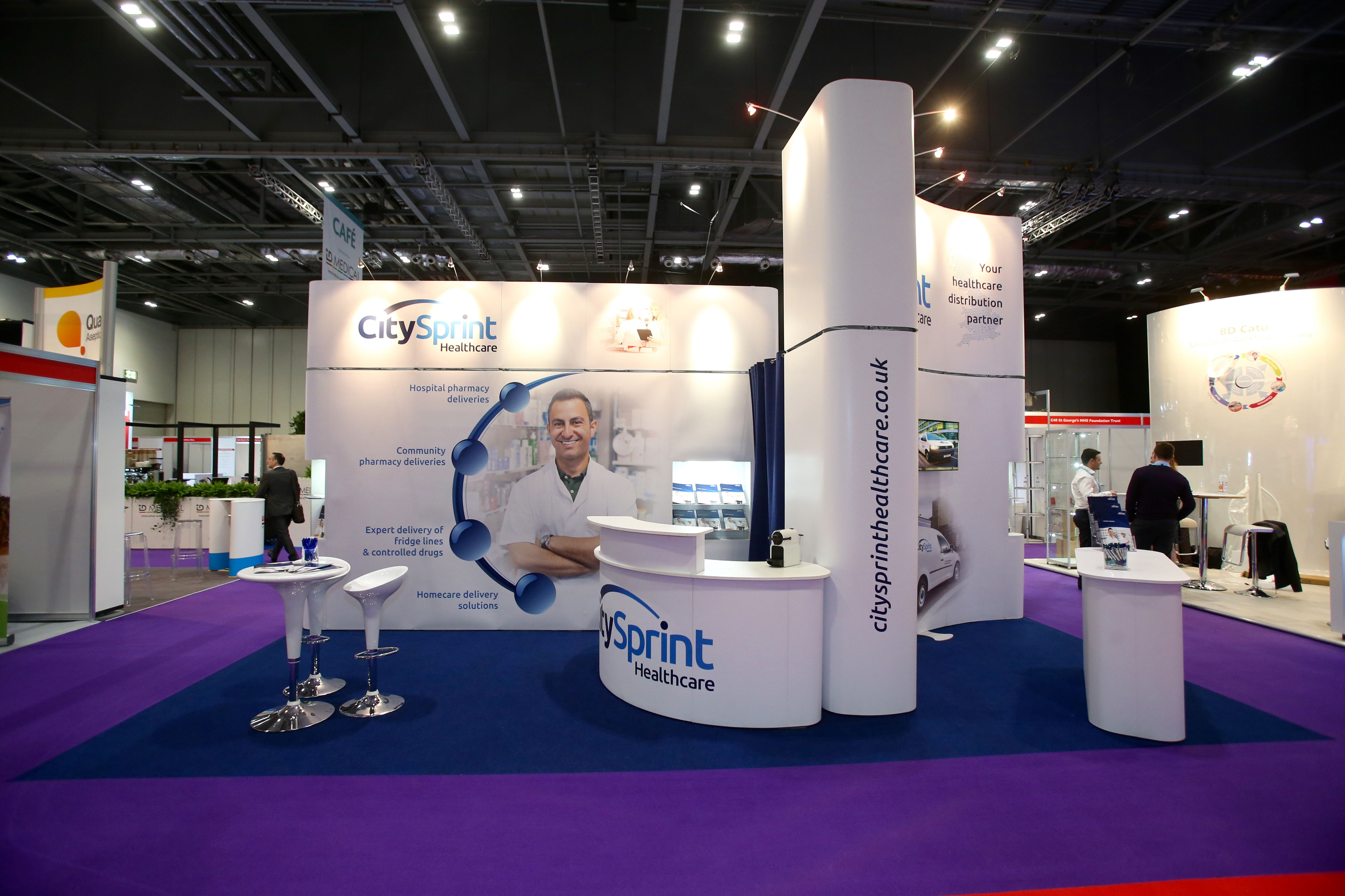 Flexible Exhibition Stands : Flexible exhibition stand for citysprint by quadrant design at cpc