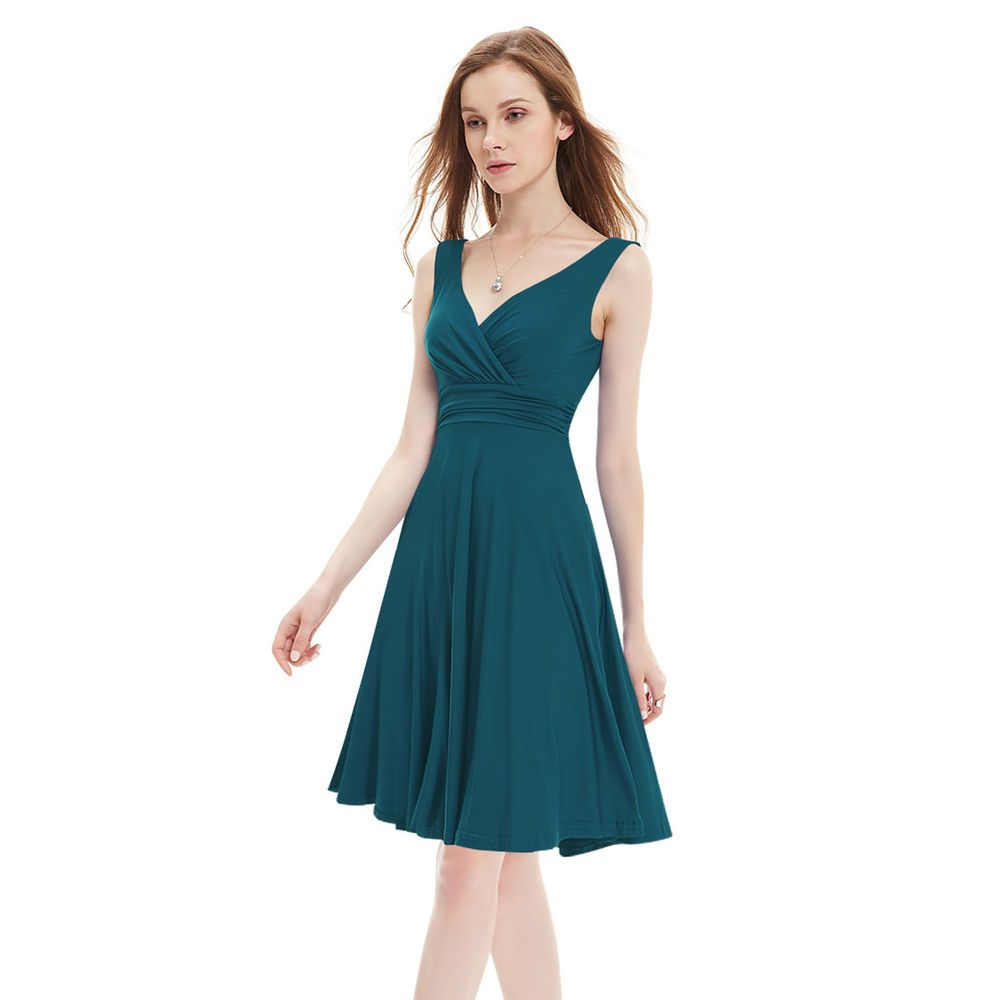 Teal women party evening cocktail casual mini dresses size