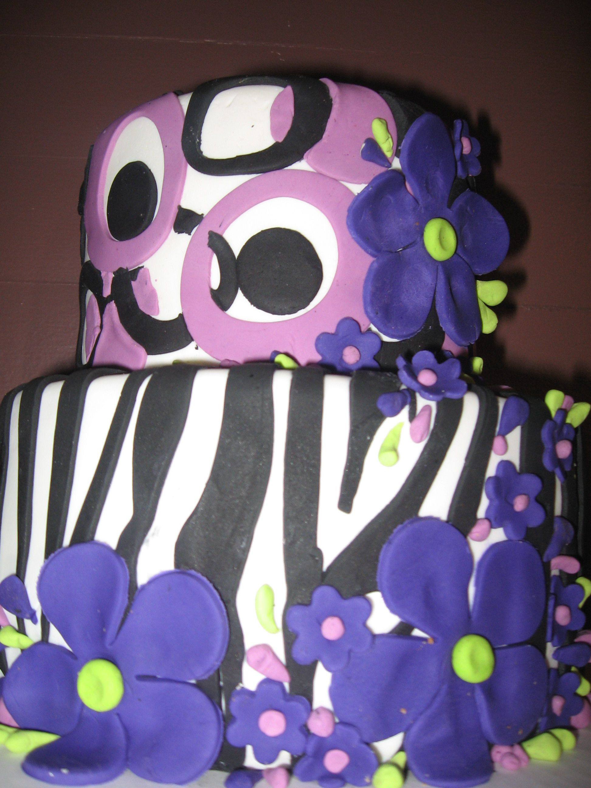 Zebra Purple flowers birthday Cake Rustys Cakes Pinterest