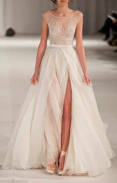 Paolo Sebastian white wedding dress with sheer silk skirt and sheer lace sequin beaded bodice