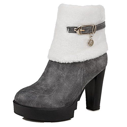 Women's High-Heels Dull Polish Low-Top Solid Zipper Boots With Crystals