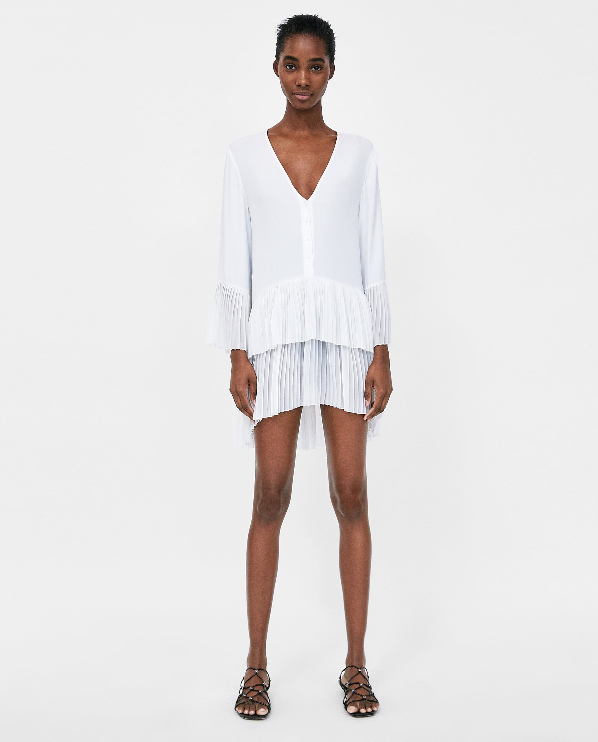 1af6d066 Image 1 of CONTRASTING PLEATED BLOUSE from Zara | My closet | Blouse ...