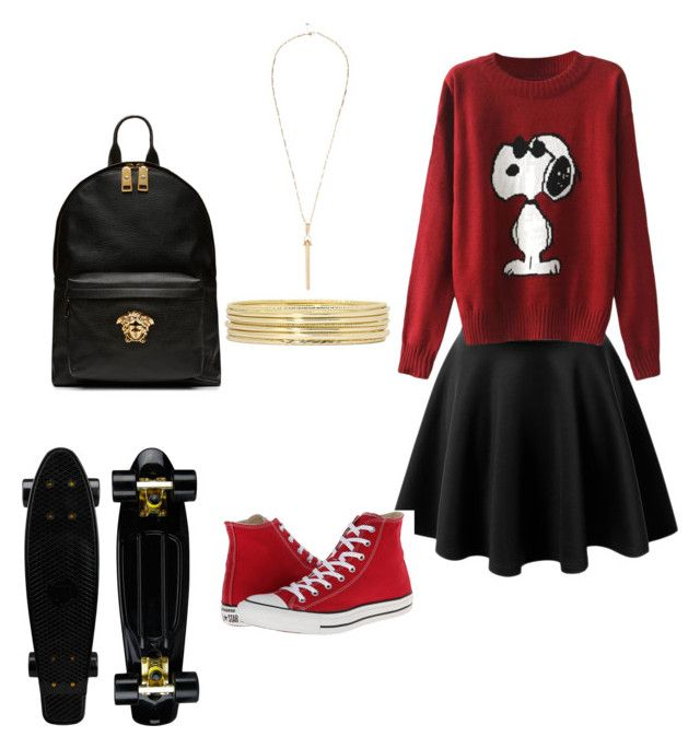 """""""Girl Almighty"""" by sammgarciadivine ❤ liked on Polyvore featuring LE3NO, Converse, Liz Claiborne, River Island and Versace"""