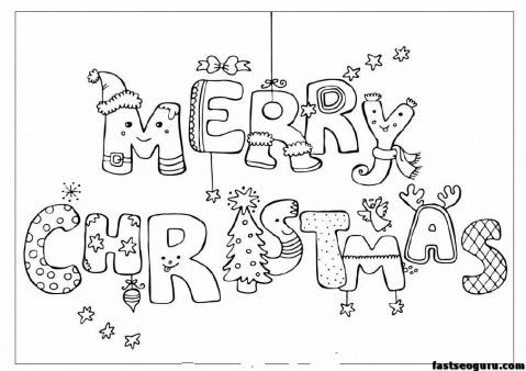 Merry christmas print out coloring pages , Printable